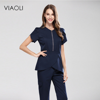Viaoli 2017 merkezi metal fermuar spa tıbbi güzellik bodur set tıbbi srub üniformaları set repeition suits