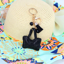 2015 new Fashion Rhinestone Handbag shape 5 colors leather tassel key chain Charm Pendant Crystal Purse Bag women Key Chain Gift(China)
