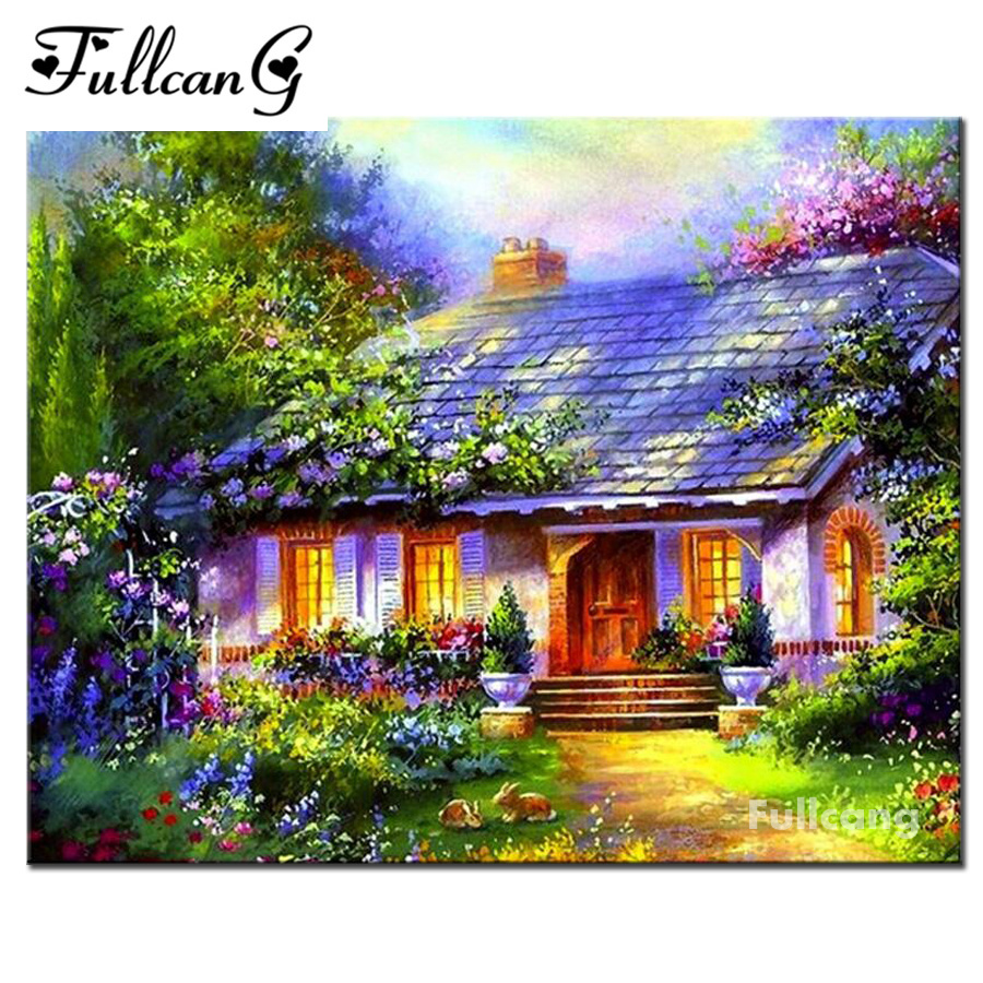 FULLCANG full square mosaic diamond painting garden house scenery diamond embroidery diy 5d diamond cross stitch kits E1384