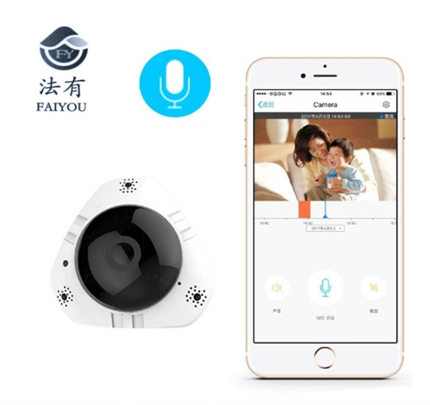 Caméra WiFi IP 360 degrés FishEye 1.3MP sécurité Mini caméra CCTV HD 960 P 3D VR sans fil caméscope intelligent fente pour carte TF