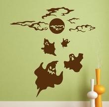 Etiqueta engomada de la pared de Halloween fantasma halloween horror inspiración decoración vinilo pegatina de pared artista decoración del hogar WSJ02