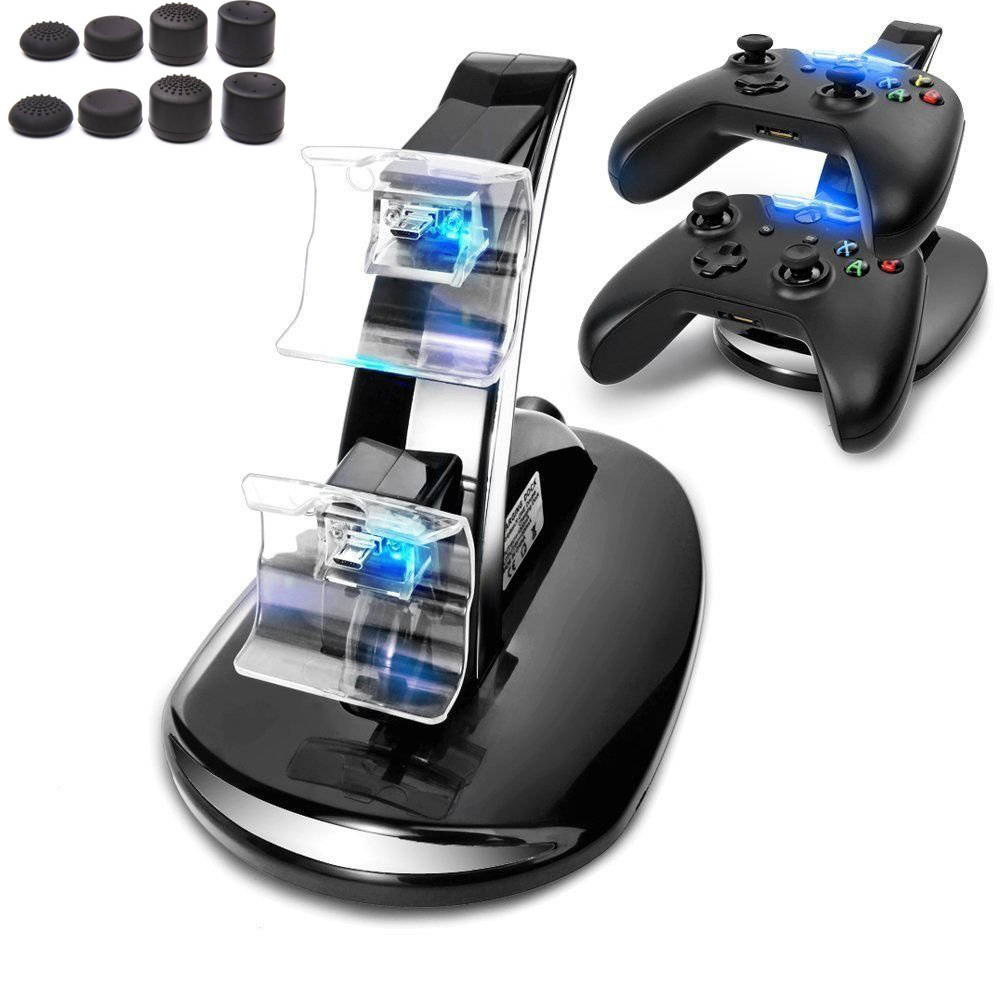 For Xbox One Controllers Gamepad Game Accessories 2 USB Ports LED Light Dual Controller Charging Dock Station Charger W/ 8 Caps