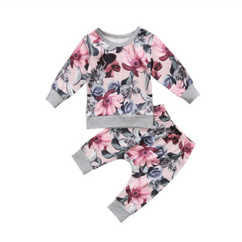 Fashion Newborn Baby Girls Casual Clothes Long Sleeve Floral Tops Harlem Pants Outfits Leggings 2018 New Spring Autumn Set