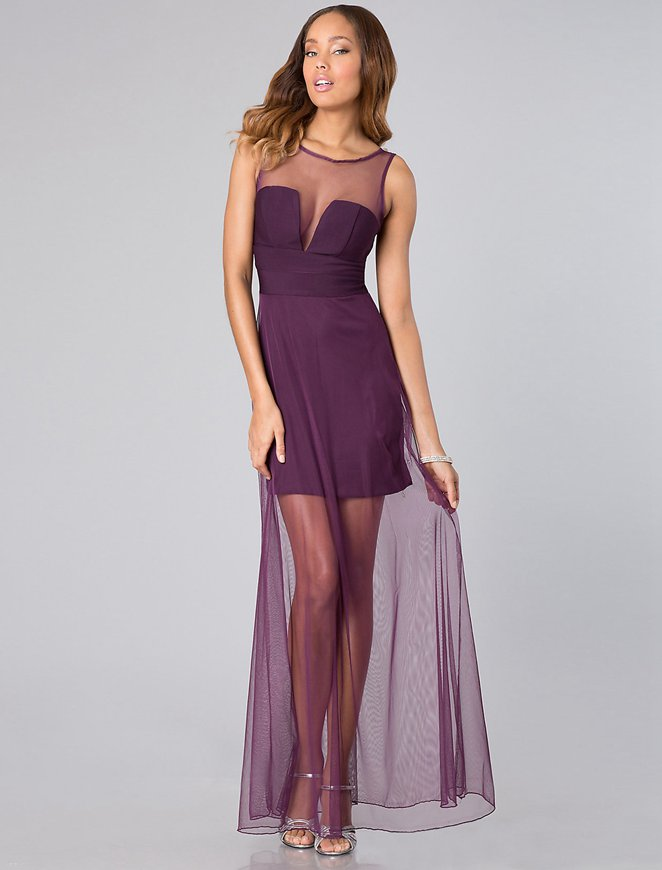 Sheer overlay evening dress
