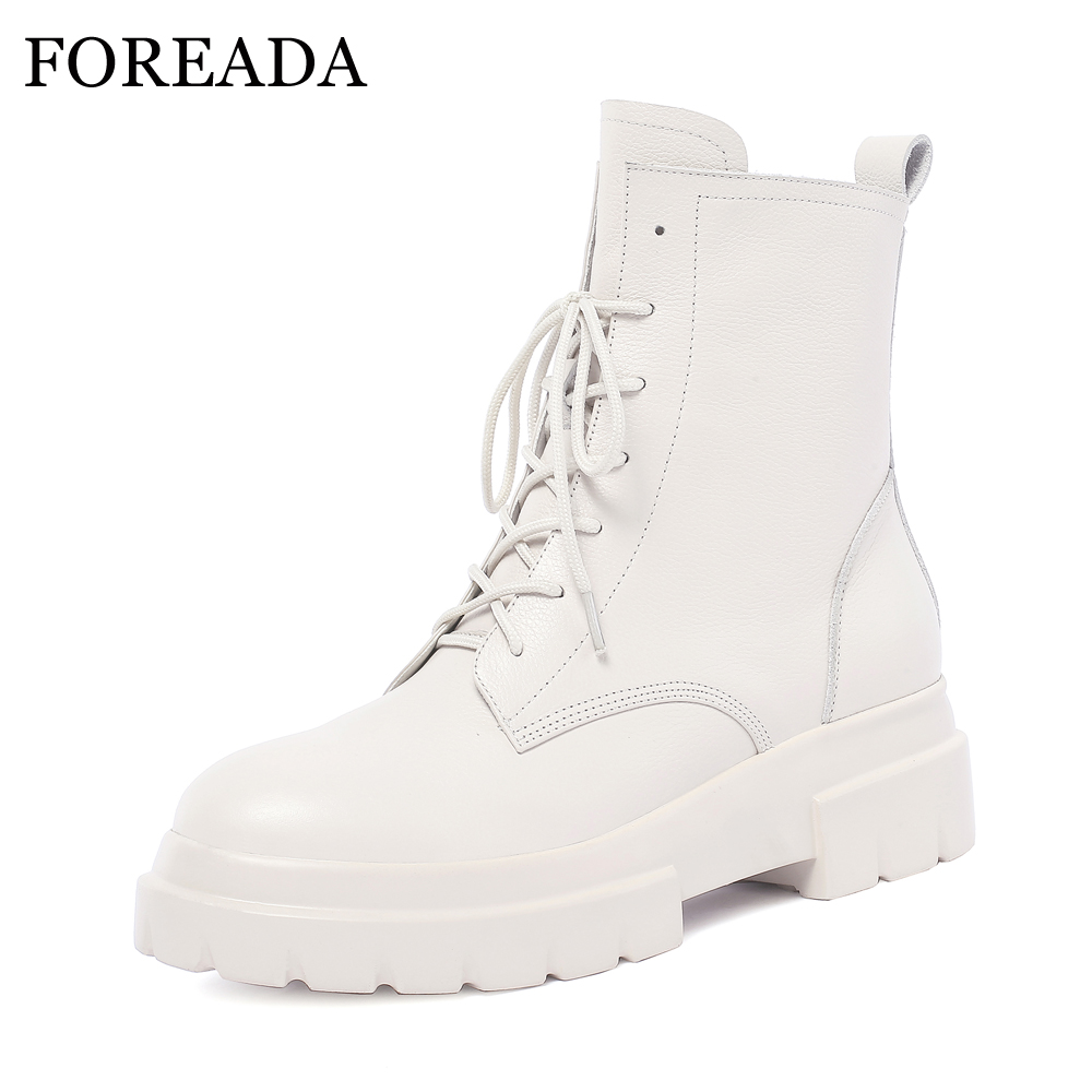 FOREADA Natural Leather Winter Boots Women Lace Up Motorcycle Boots Genuine Leather Platform Ankle Boots White