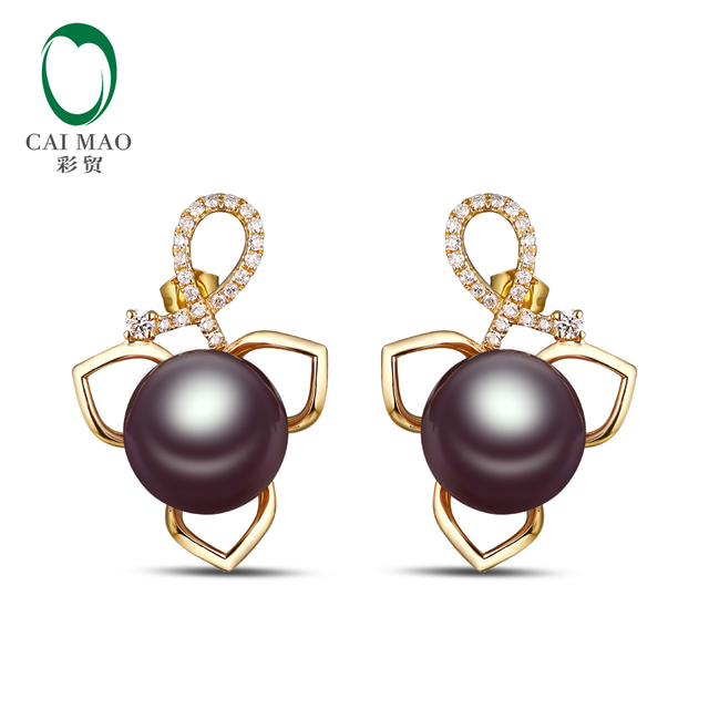c5675cc796808 Classic 14K Yellow Gold 11 12mm Freshwater Pearl 0.28ct Natural Diamonds  Engagement Earrings-in Earrings from Jewelry & Accessories
