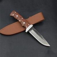도매 패턴 다마스커스 스틸 수동 단조 스트레이트 나이프 62HRC 경도 야외 자기 방어 칼 사냥