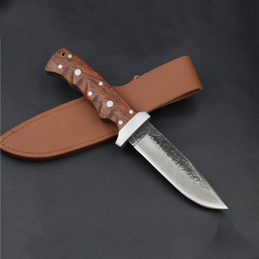 wholesale pattern Damascus steel manual forged straight knife 62HRC hardness outdoor self-defense knife hunting sergio tacchini active water