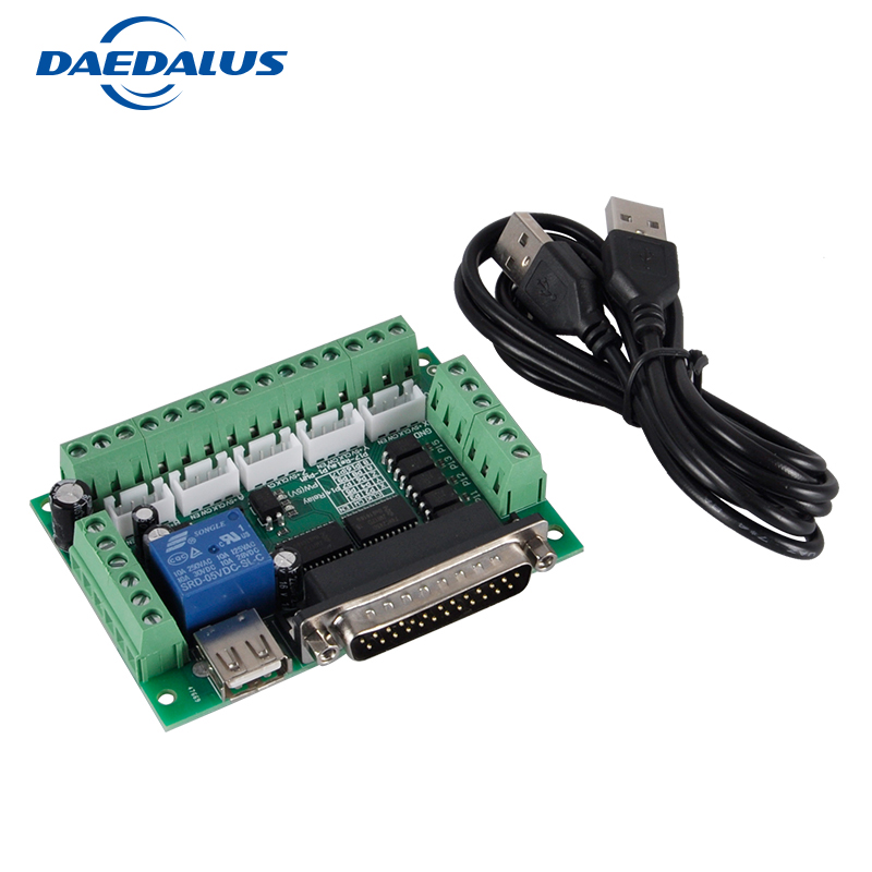 5 Axis CNC Interface Adapter Breakout Board Mach3 CNC Controller For Stepper Motor Driver Board + USB Cable