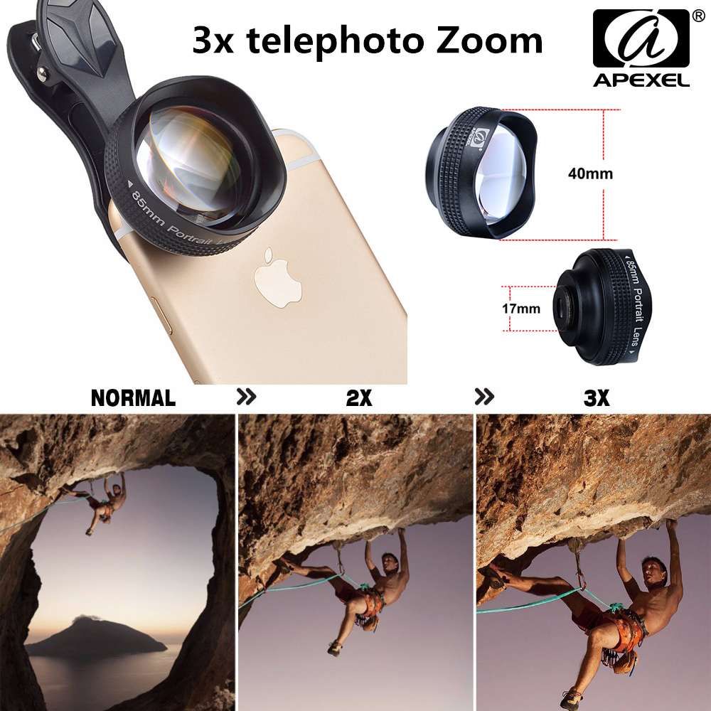 big sale 47e7f 59897 US $38.99  APEXEL Universal 3x telephoto Zoom Phone Lens Tele Camera Lens  Kit 85MM lens For iPhone 6 6S Plus Samsung Mobile Phone Telescope-in Mobile  ...