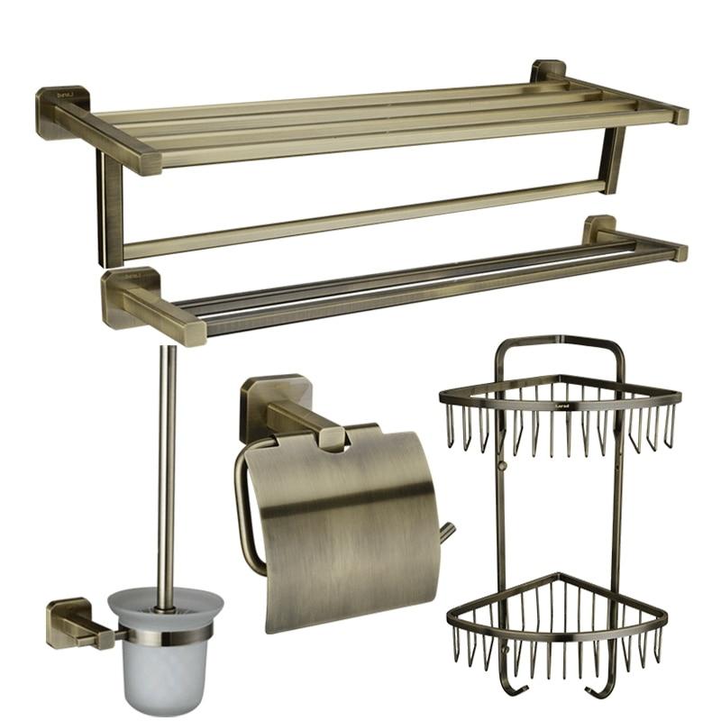 5 pz tutto il rame ottone bronzo accessori per il bagno set portasciugamani barra di tovagliolo