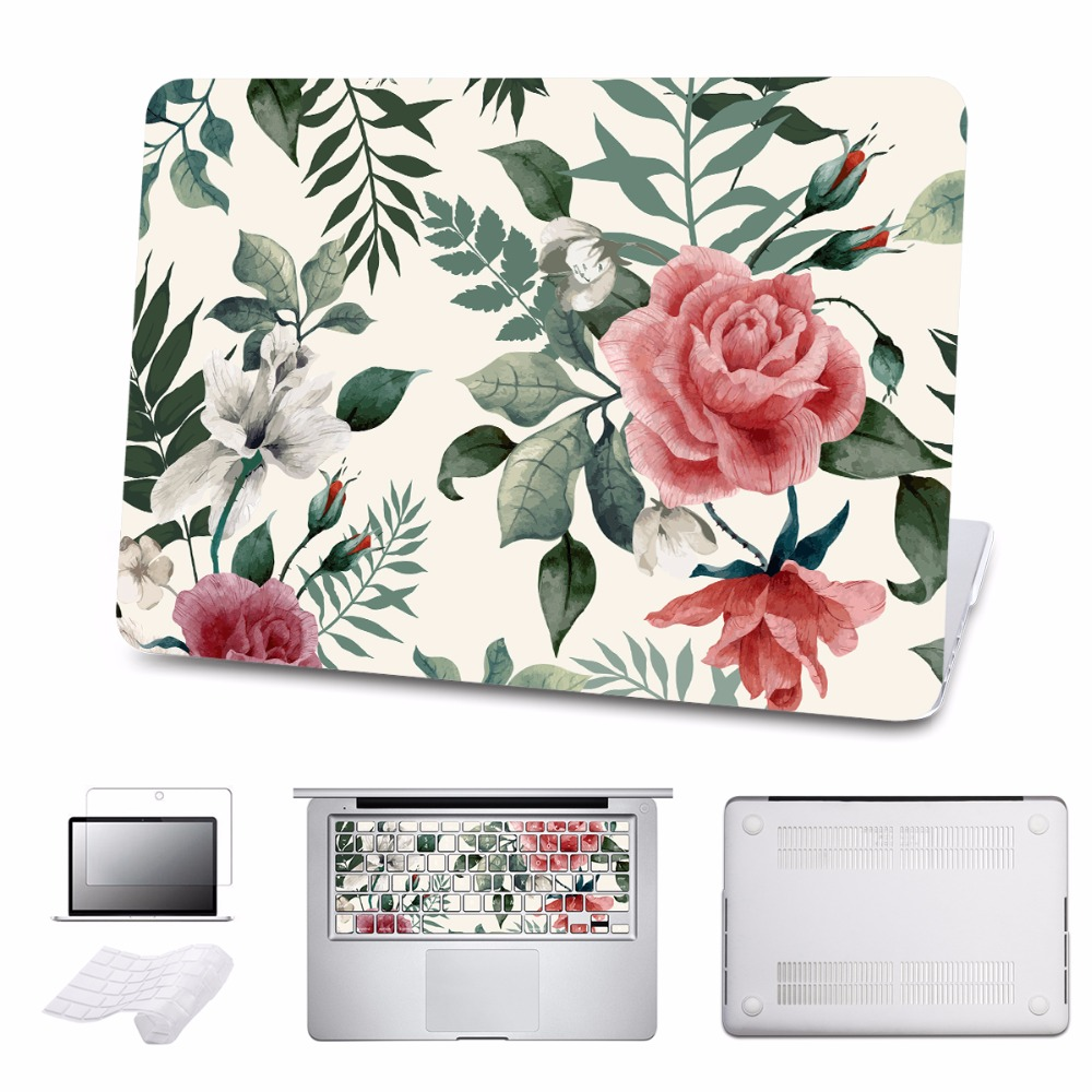 Case For Macbook Pro 13 15 12 Retina Air 11 13 Touch Bar A1706 A1707 A1708 Colorful Floral Print Cover 5 in 1 Bundle Laptop Case redlai plant floral print hard case for apple macbook pro retina 13 3 12 15 4 sleeve air 11 13 3 new pro 13 15 a1706 laptop case