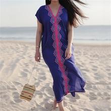 Embroidery Cotton Beach Kaftan Cover up Saida de Praia Swimsuit Bikini cover up Tunics for Beach Pareo Sarong Beachwear #Q576