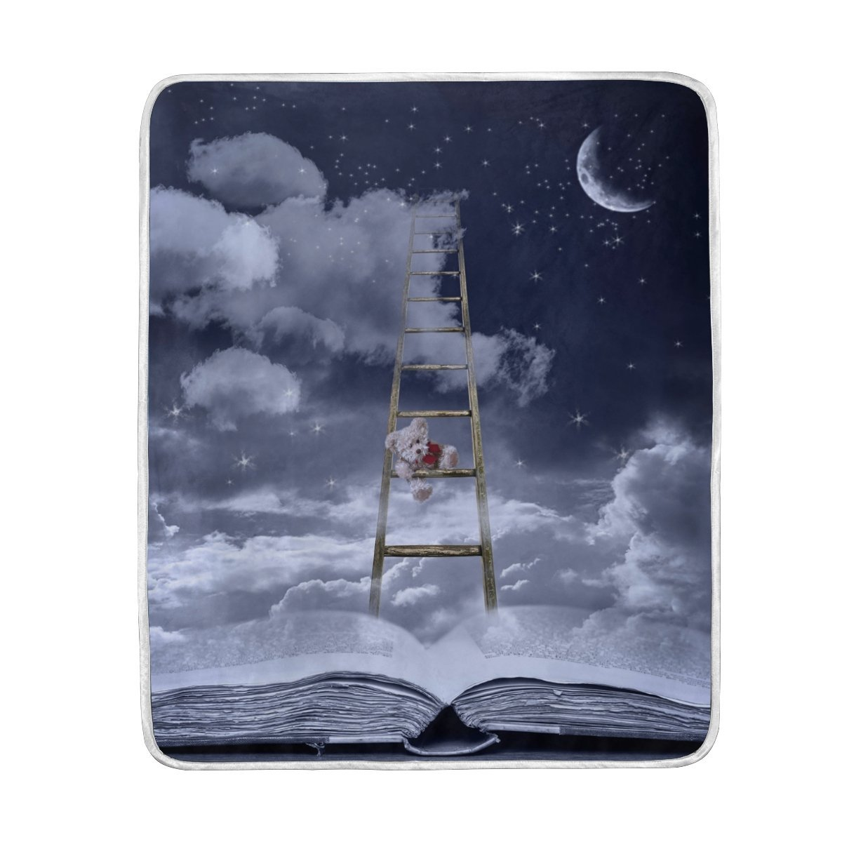 Story Book and Bear on Ladder to Sky Blanket Soft Warm