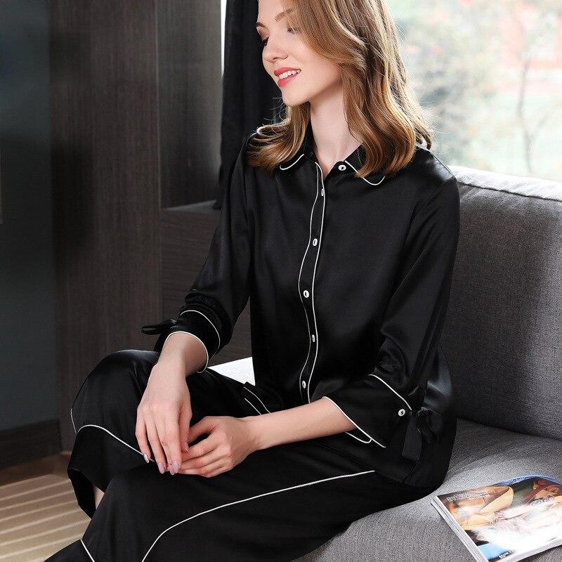 Sexy Black 100 silk pajamas sets women noble Pure color three quarter sleeve Elegant pijamas pyjamas