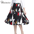 2017 New Skirts Women's Clothing Fashion Graffiti Printed Skirt Long A-line High Waist Skirt Women Bottoms Brand High Quality