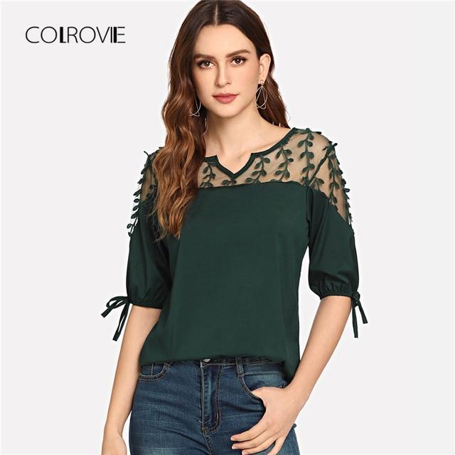 Black Knot Mesh Panel Blouse Shirt Pink Workwear Feminine Blouse Green Casual Half Sleeve Women Tops 4