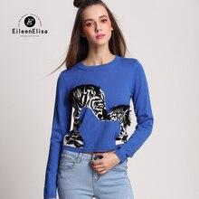 Blue Sweaters Women Winter Women Pullovers Sweater with Animal EE Autumn Winter Sweater Women Short Sweater
