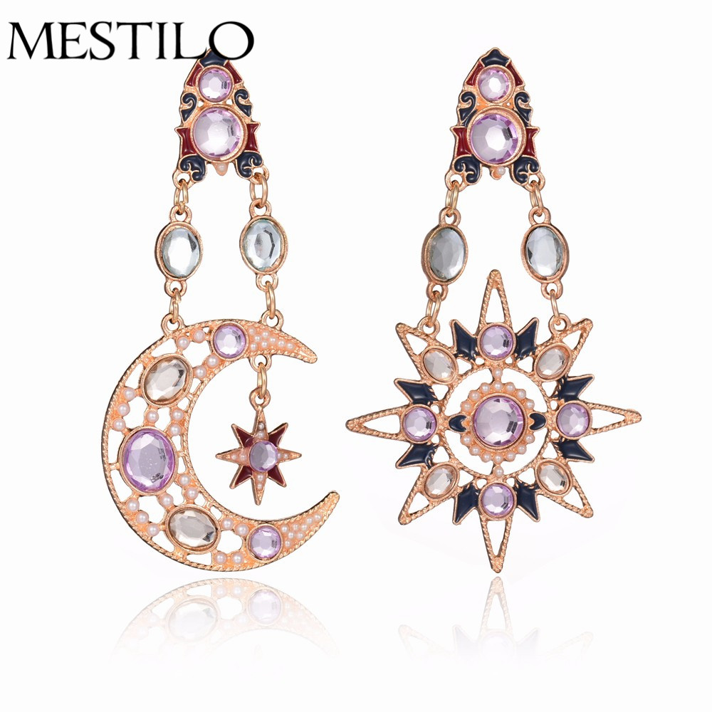 2017 New Vintage Gold Asymmetric Star Sun Moon Rhinestone Crystal Drop  Dangle Pretty Earrings For Women