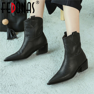 Image 1 - FEDONAS แฟชั่นชี้ Toe รองเท้าส้นสูงผู้หญิงรองเท้า Slip บนรองเท้าตะวันตกของแท้รองเท้าหนังสั้นรองเท้า Party รองเท้าผู้หญิง