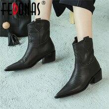FEDONAS الأزياء وأشار اصبع القدم عالية الكعب النساء حذاء من الجلد زلة على الأحذية الغربية جلد طبيعي أحذية بوت قصيرة أحذية الحفلات امرأة