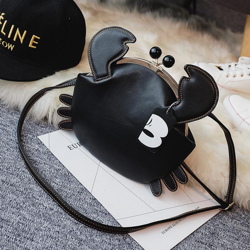 Fashion Cute Crab Shoulder Bag Personality Design Pu Leather Coin Purse Women's Shopping Party Shoulder Bag Mini Messenger Bag