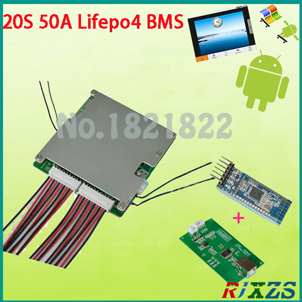 US $65 3 |20S 50A 2017 new Lifepo4 smart bms pcm with android Bluetooth app  UART correspondence bms wi software (APP) monitor-in Integrated Circuits