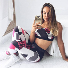 2017 Fashion Women Tracksuit Leopard Printed Sporting Leggings Fitness Crop Top Two Piece Set Suits for Women Push Up Tracksuit