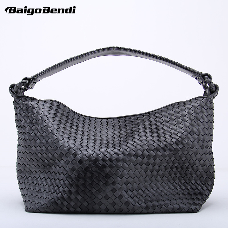 Fade Color Women's Woven Leather Half Moon Handbag Criss-Cross Knitting Hobo Gradient Dumpling Bag Casual Tote simple men s casual shoes with criss cross and color block design