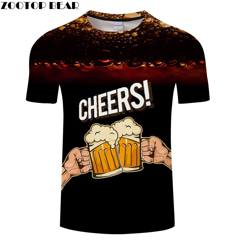Black Tops Men t shirt 3D Print t-shirt Breathable Summer Beer Tees Brand Fashion Quick Dry Shirts Casual Drop Ship ZOOTOPBEAR image