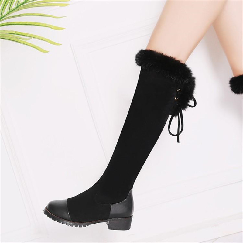 Women\`s Thigh High Boots Autumn Winter Slim Long Tube Over the Knee Boot Big Size 33-43 Female Snow Boots Black Brown Lady Shoe (17)