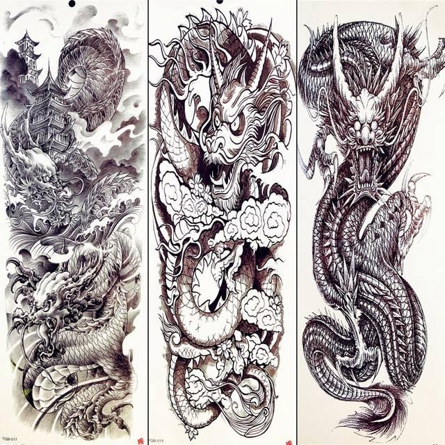 Us 153 9 Offsexy Totem Tattoo Summer Temporary Tattoo Chinese Black Dragon Full Arm Sleeve Tattoo Stickers Body Art Drawing Men Tatoos Legs In