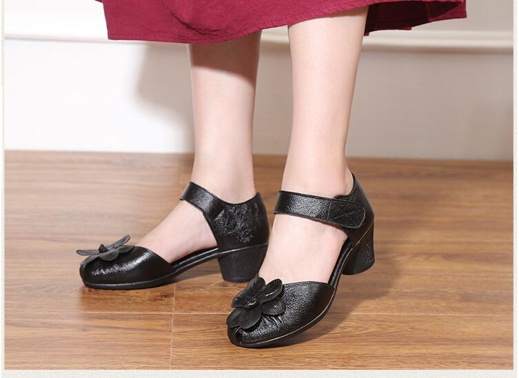 Spring Women shoes 2018 new summer handmade flower ladies sandals genuine leather women casual comfortable shoes woman sandals xiuningyan women sandals 2018 new fashion casual shoes comfortable wedges sandals platform genuine leather woman summer shoes