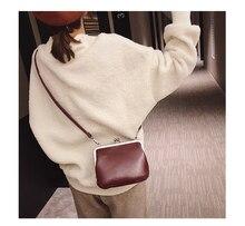 Casual Solid Color Women's Clip Bags Shoulder Messenger Bags Retro Crossbody Bags For Women Luxury Pu Leather Women Handbags New new 2017 women handbags pu leather fashion crossbody bags woman solid color elegant female handbags bags