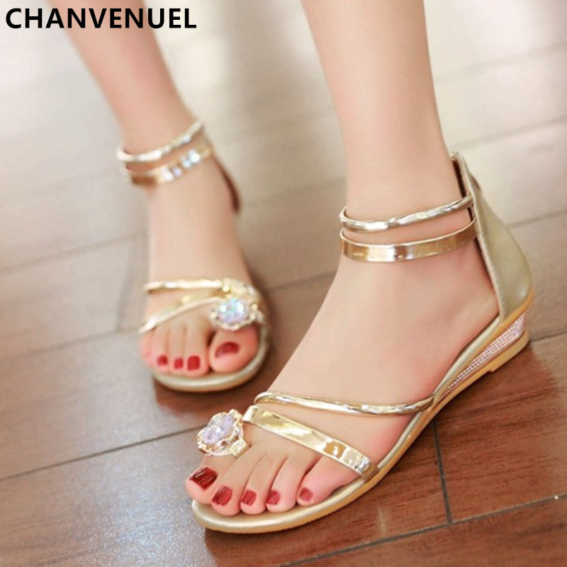 afc599e79 2017 Summer Sandals Women Bohemia Rhinestone Wedge Shoes Roman Style Gold  Gladiator Sandals Women Shoes Sweet With Students