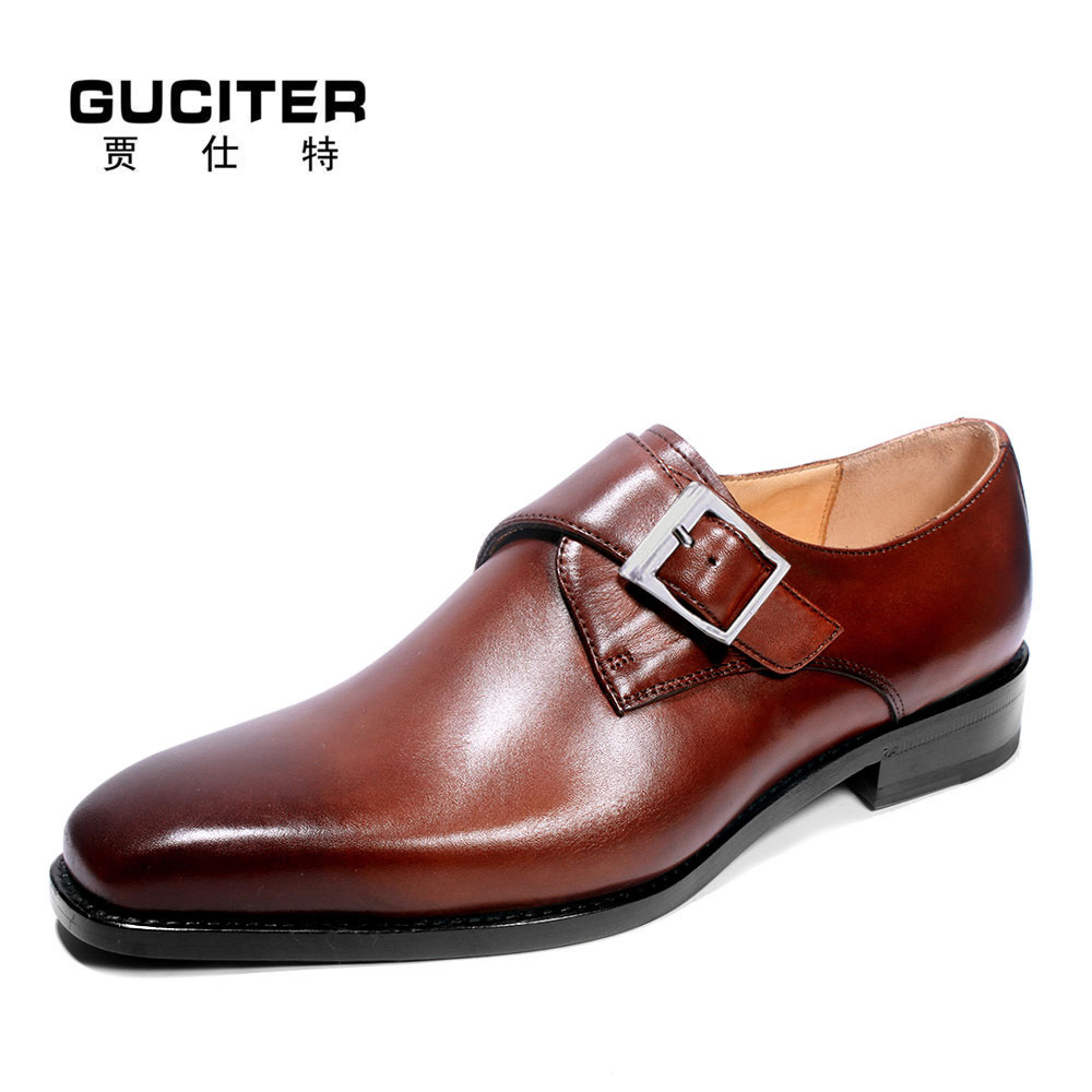 Guciter GOODYEAR welted craft shoes patina brown handmade genuine leather soles Custom single shoe buckle monks shoes breathable eelectrical soles shoes cleaner intelligent automatic shoe polisher shoes cleaning machine soles washing mahine brush eu us plug