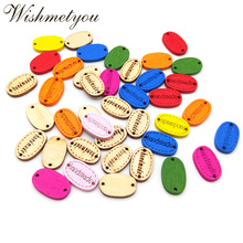 WISHMETYOU 50pcs Colorful Hand Made Letters Wooden Buttons Handmade 2 Holes Sewing Clothes Accessories Finding Crafts Decoration