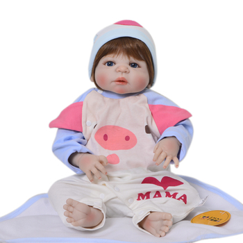 Reborn Real baby full silicone doll 22inch 55cm children fashion doll gift bebe girl reborn bonecas menina can bathe bonecas