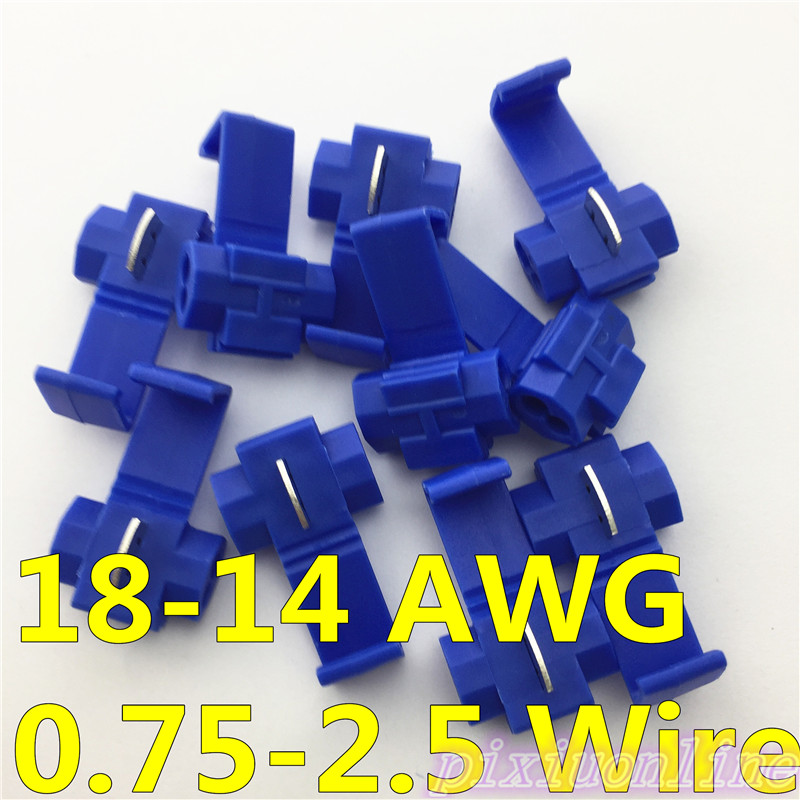 G14Y High Quality 10pcs 18-14 AWG Hard Soft 0.75-2.5 Wire 802P3 Blue Scotch Lock Quick Splice Crimp Terminal 5pcs t shape 2 pin scotch lock quick splice wire wiring connector for 22 18awg led strip wire car audio cable terminals crimp