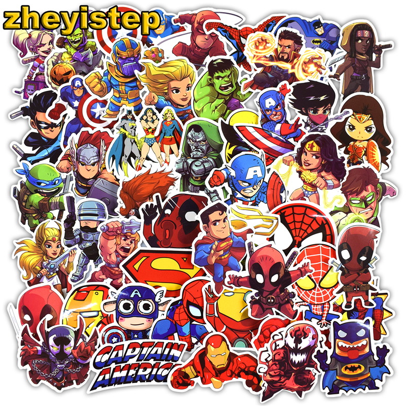 100 Pcs Super Hero Stickers for Luggage Laptop Skateboard Bike Car Styling Guitar Vinyl Decals Cool Graffiti Waterproof Sticker цена