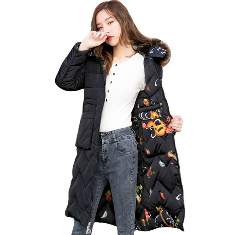 2019 High Quality Winter Jacket Women Can Be Worn On Both Sides Hooded With Fur Collar Female Parka Outwear Long Warm Coat