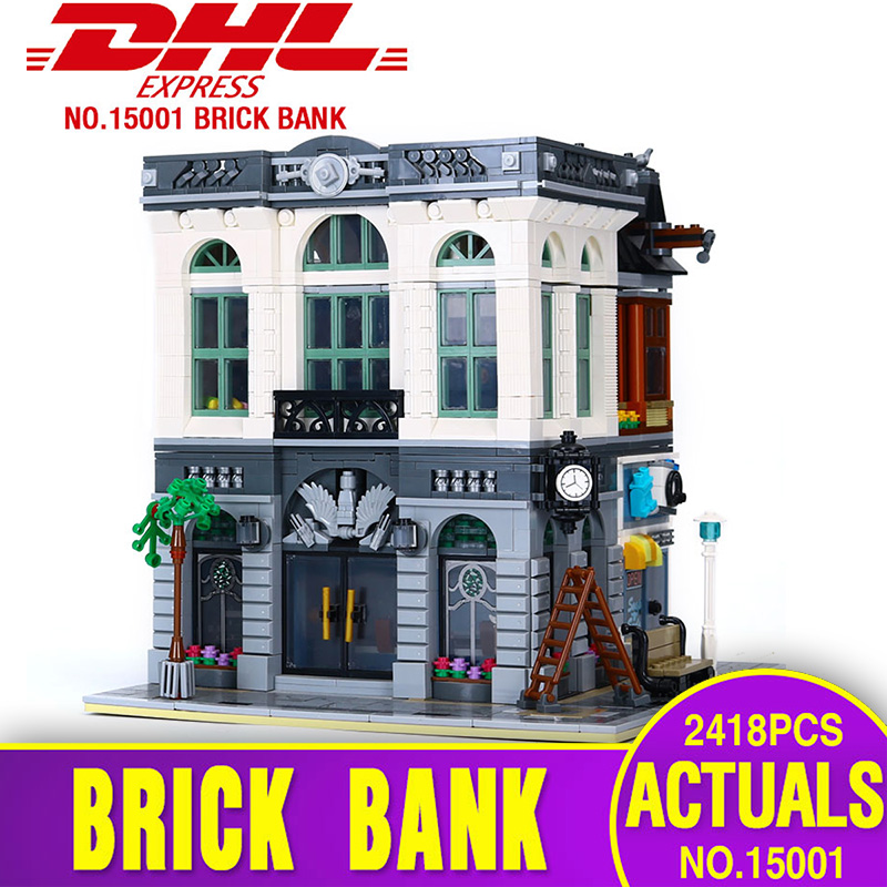 LEPIN 15001 2418Pcs Brick Bank Model Building Kids  Blocks Bricks Funny Toy Compatible With  10251 for children days' Gift lepin city town city square building blocks sets bricks kids model kids toys for children marvel compatible legoe