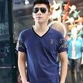 Плюс Размер Только Новое Лето Стиль Мужчины Рубашка Хлопка с V-образным Вырезом С Коротким Рукавом Сплошной Цвет Большой Размер для Мужчин 2XL-7XL TX763