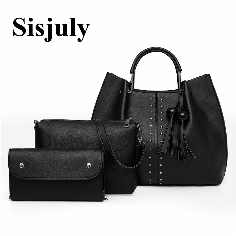 31158d64eeda 3Pcs Sets Women Tote Bag Female Tassel Handbag Fashion Shoulder Bag PU  Leather Crossbody Bag
