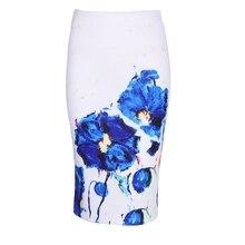 KLV 3D red flower print women middle faldas ladies pencil skirts 2017 fashion design vogue girls slim bottoms Drop ship
