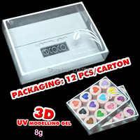 超人気 12 色セット 3D UV 彫刻ゲルモデリングカラーネイルアートのヒントクリエイティブファッションマニキュア Decoratrion 8 グラム