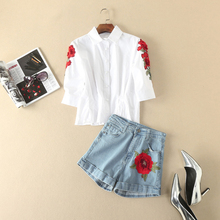 Europe Style 2017 Summer Newest Turn-Down Collar Short Sleeve Rose Embroidery Top+Jeans Short Pants Fashion Suits Women 11114