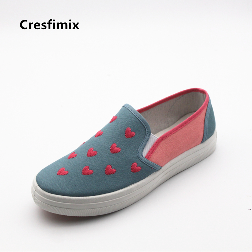 Cresfimix women fashion heart print cloth shoes lady casual spring and summer slip on loafers female comfortable street shoes odeon light bula 2904 1