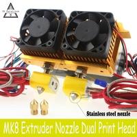 Hot! MK8 Đùn thép Không gỉ + Brass 0.4 mét Vòi Phun 1.75 MÉT Filament Đúp Kép Đầu In Hotend cho ABS PLA Máy In 3D