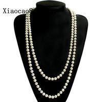 High Quality Shell Pearl Necklace Women 55 Long Necklace Classic Jewelry Woman Layer Necklace In Black
